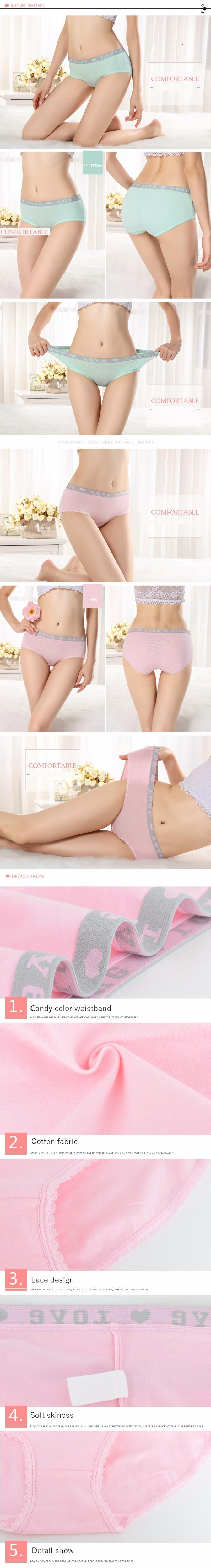 Anti Bacterial 100% Cotton Intimates Solid Sexy Briefs Women Underwear Natural Color Comfortable Women Push Up Panties