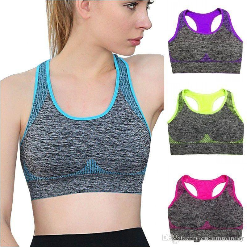 50141412090e5 Women Racerback Sports Bra Yoga Fitness Stretch Workout Running Tank Top  Padded Seamless Online with  3.79 Piece on Cncommander s Store