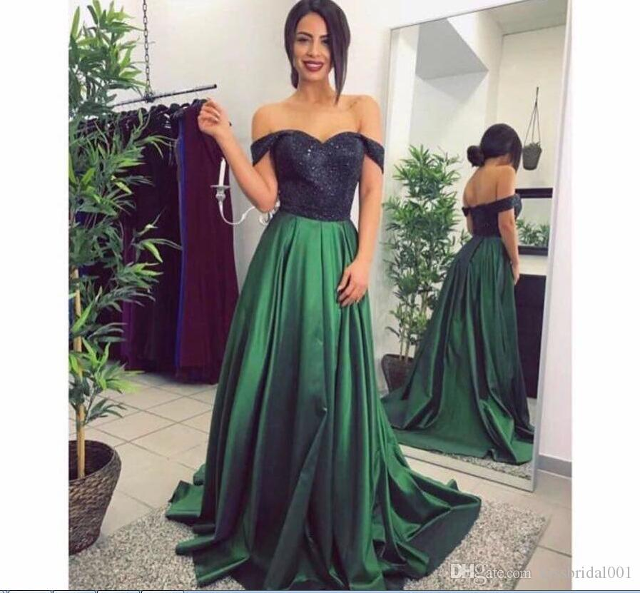 Günstige Hunter Green Prom Kleider A Line Off The Shoulder Schwarz Pailletten Top Formelle Abendkleider Party-Kleid