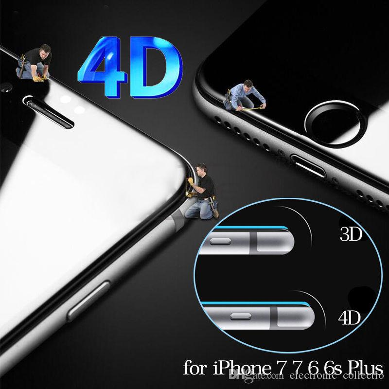 4D 5D Curved Full Cover Tempered Glass Screen Protector Film Front Screen Protector Film Full Cover 4D hard Curved Edge For iPhone 7 6S 6 P