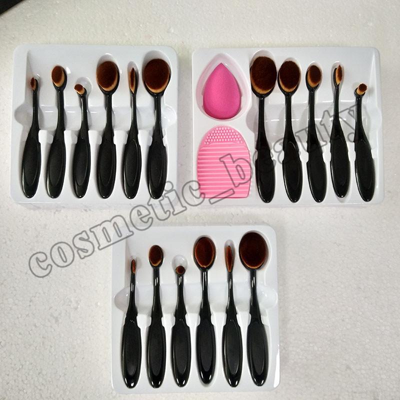 6 unids Beverly Hills Pinceles de maquillaje Cepillo de dientes Oval maquillaje Sistema de cepillo Hermoso Kit de herramientas cosméticas Blush Blend de base