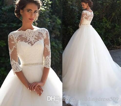 Vintage Arabic Lace Half Sleeves A-line Wedding Dresses 2018 Bateau Pearls Tulle Princess Bridal Gowns with See Through Back