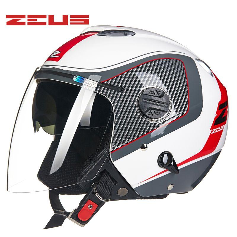 a4017518b8f93 Compre ZEUS Casco De La Motocicleta Visores Duales Cara Abierta E Da  Motocicleta 20294 Cascos Para Moto Casco Casco Hombres Mujeres Cascos A   133.6 Del ...