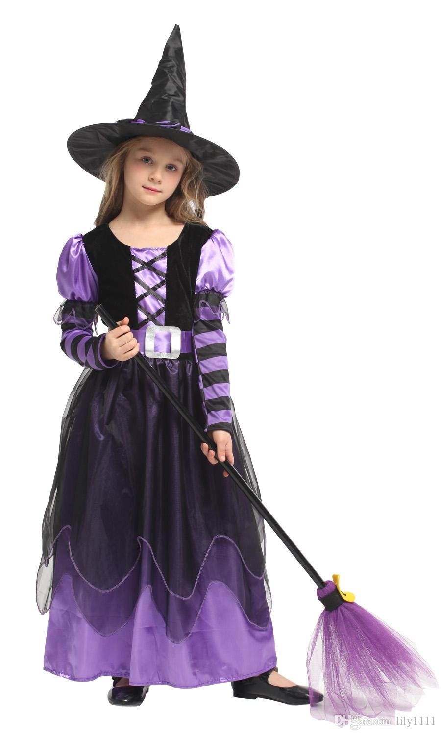 shanghai story 2018 girl's witch costume kids gold eleglant dress