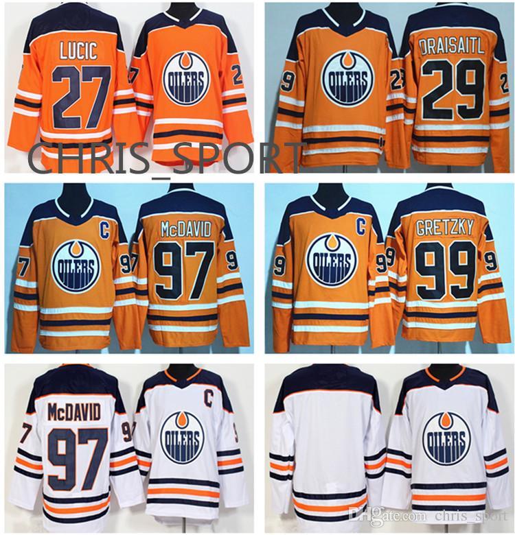 Edmonton Oilers Hockey Premier Jerseys  97 Connor McDavid 99 Wayne ... 549103627