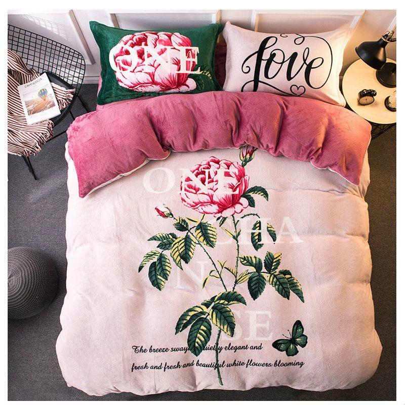 4 adet Yatak Setleri Pazen Kış Kalınlaşma Peluş Nevresim Hayvan Yatak Seti Yatak Örtüleri Çarşaf Yastık Kılıfları Yumuşak ve Sıcak