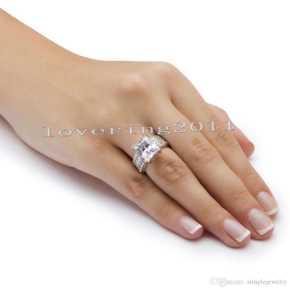 choucong antique princesse coupe 5ct pierre diamant 14 kt or blanc rempli fiançailles bande de mariage bague ensemble Sz 5-11