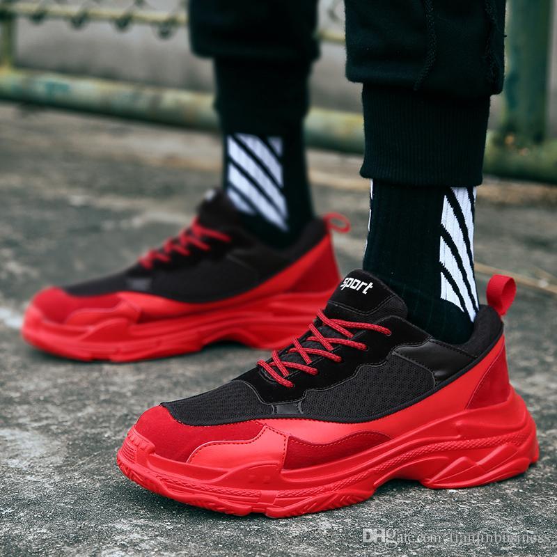 efb462261f4f3 Compre Calzado Deportivo Rojo Negro Para Hombre Chico Joven Motion Tide  Fitness Sneakers Calzado Resistente Para Entrenamiento Four Seasons  Masculino A ...