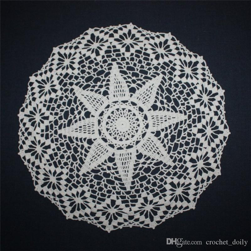 2PCS Cream Crochet Doily, Lace Round Doily, Wedding Cotton Doily, Lace Tablecloth, Table Topper, 16 inches