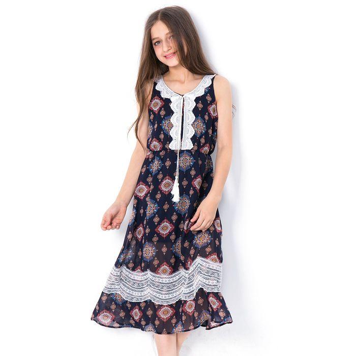 bf3a8eaf9c1 Acheter Fille Robe Fleur Enfants Vêtements Dentelle Gland Robe Adolescent  Mode Robe Sans Manches Junior Vêtements D été De  73.33 Du Ywbaby