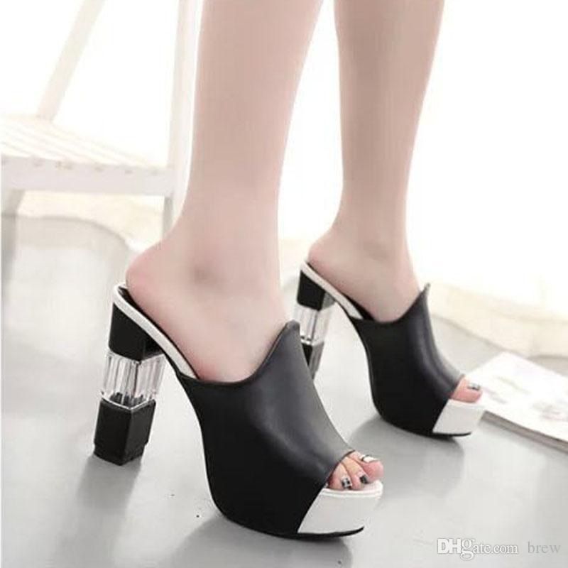 53bccba35ff9 Wholesale Women Sandals Slipper Fashion Waterproof High Heels Slipper  Chunky Heel Sandals Fashion Shoes Size 35 42 PU Sandals High Heels From  Brew