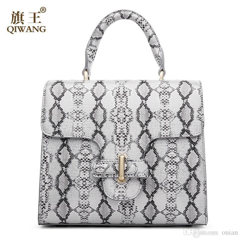 Wholesale Qiwang Women Python Bag Cow Snake Skin Cowhide Leather Tote Bag  Wholesale Summer Cross Handbag Luxury Brand Designer Bag Satchel Handbags  Ladies ... 4b8c6276b8413