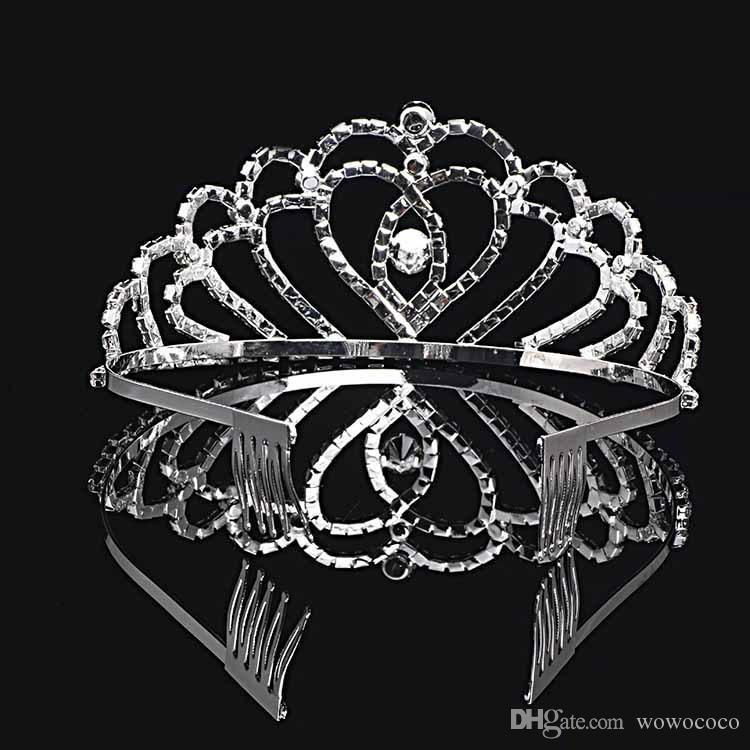 اليدوية بلينغ الفضة الزفاف العرسان كريستال ولي العروسة التيجان هدية لطيفة لفتاة 12 * 6CM H0006