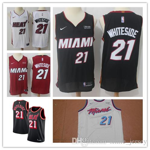 8e4d3d06dde ... top quality 2019 new mens 21 hassan whiteside miami heat basketball  jerseys stitched embroidery mesh dense