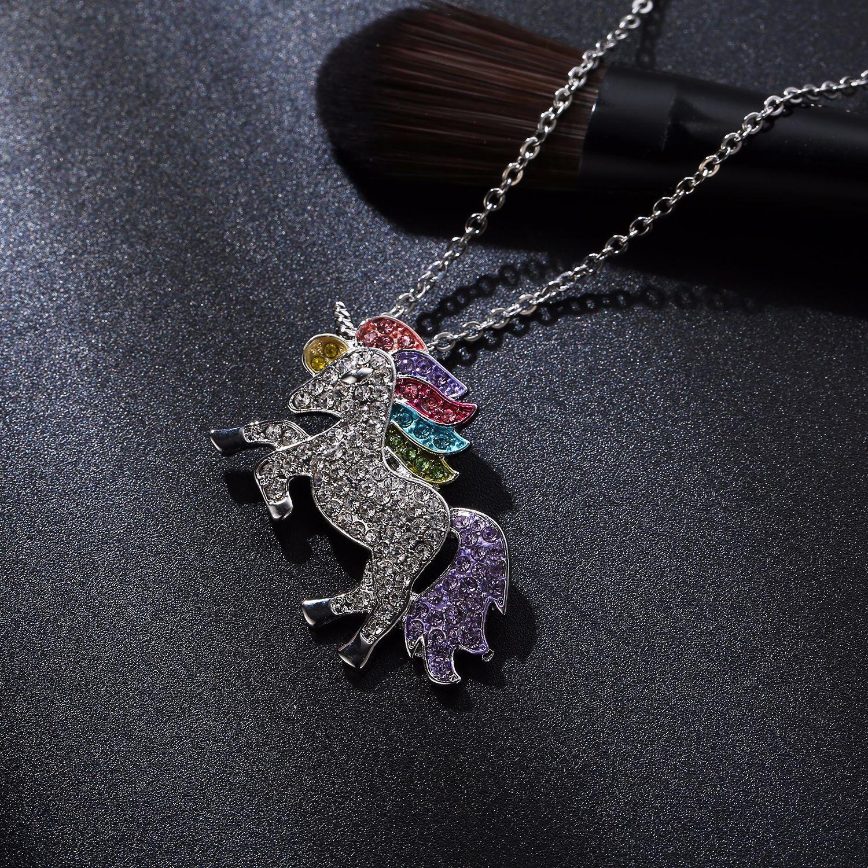Wholesale Fashion Women Unicorn Horse Pendant Necklace Plating Chain Multicolour Crystal Choker Christmas Jewelry Lovely Gift