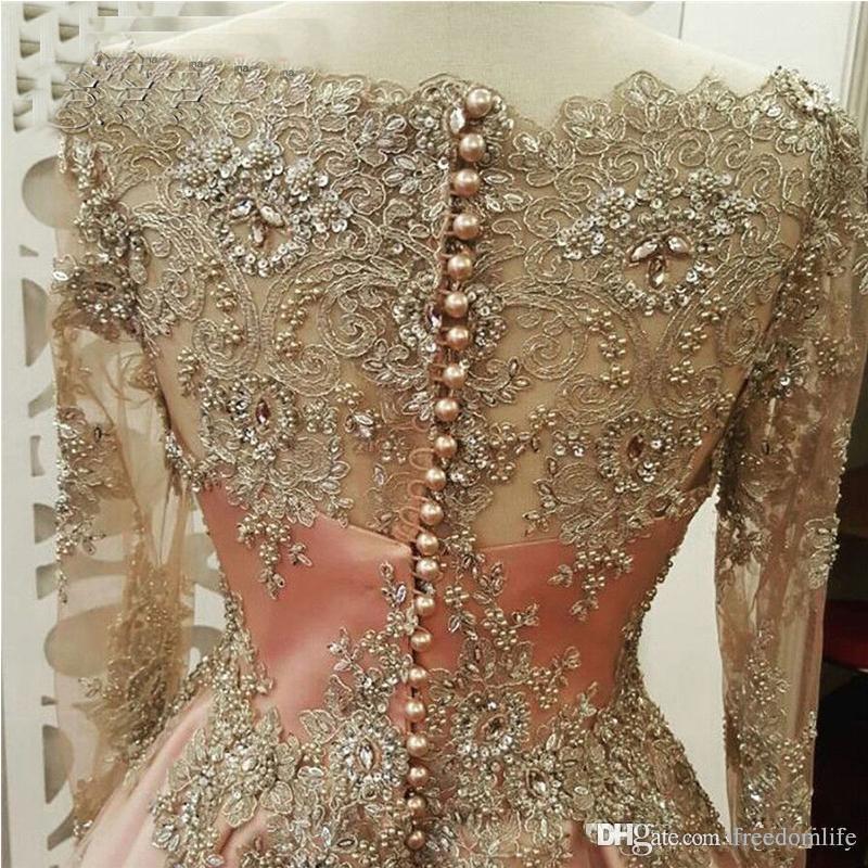 Fard à joues rose modeste Robes de bal à manches longues en dentelle Robe de Parti Appliques Tenue de soirée vestidos de fiesta