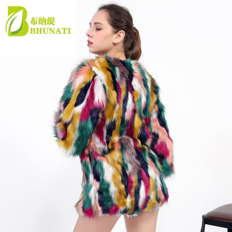 BHUNATI женщины элегантный шубы красочные искусственного меха пальто многоцветный три четверти рукав повседневная женщина О-образным вырезом зима шубы