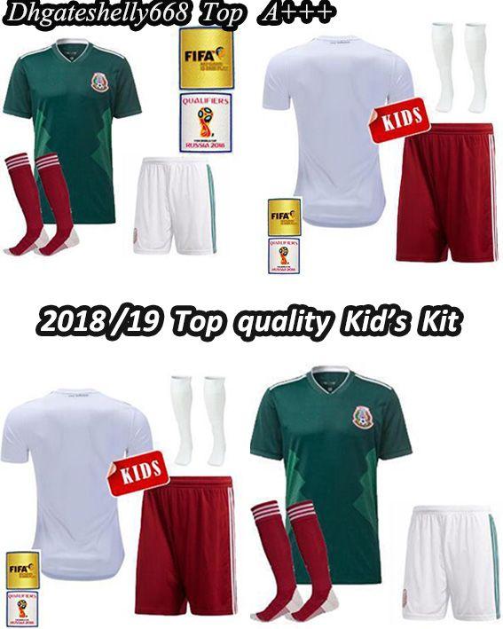 Online Cheap 2018 Mexico Kids Kit Soccer Jersey Home Away White Chicharito  M.Layun R.Jimenez Carlos Vela G.Dos Santos A Guardado Child Football Shirts  By ... 8626a341c