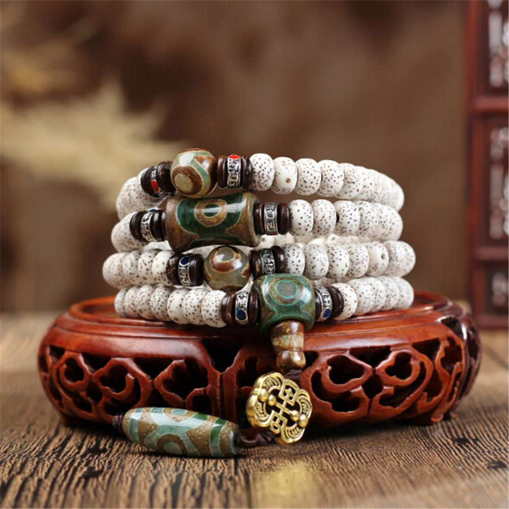 Tibetan Dry Grinding Natural White Star Moon Bodhi Seed 108 Mala Prayer  Bracelet Third Eye Stone Charm Buddhist Jewelry Dropship