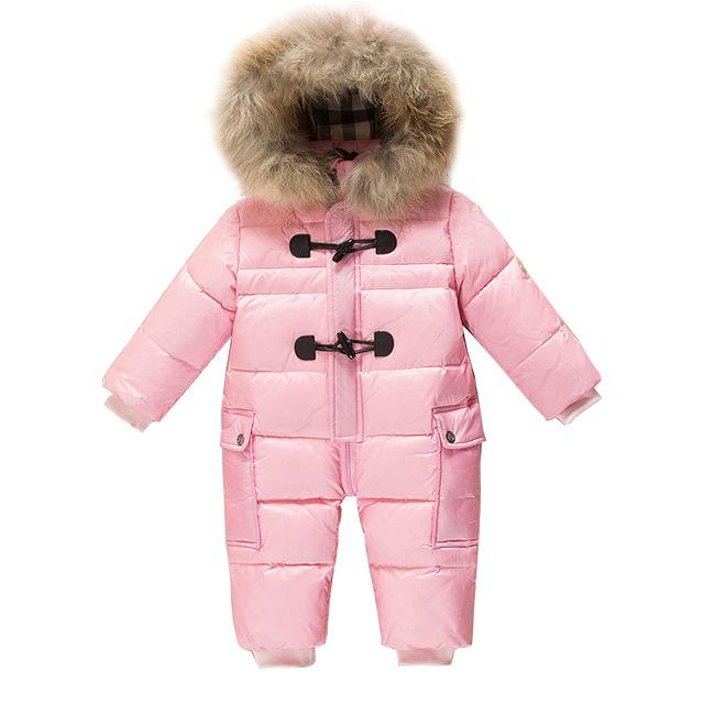 88611b628 0~3T Russian Newborn Baby Girl Winter Raccon Real Fur Down Romper ...