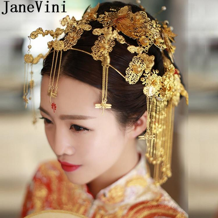 2019 Janevini Gold Tiaras And Earrings Vintage Chinese Wedding Hair