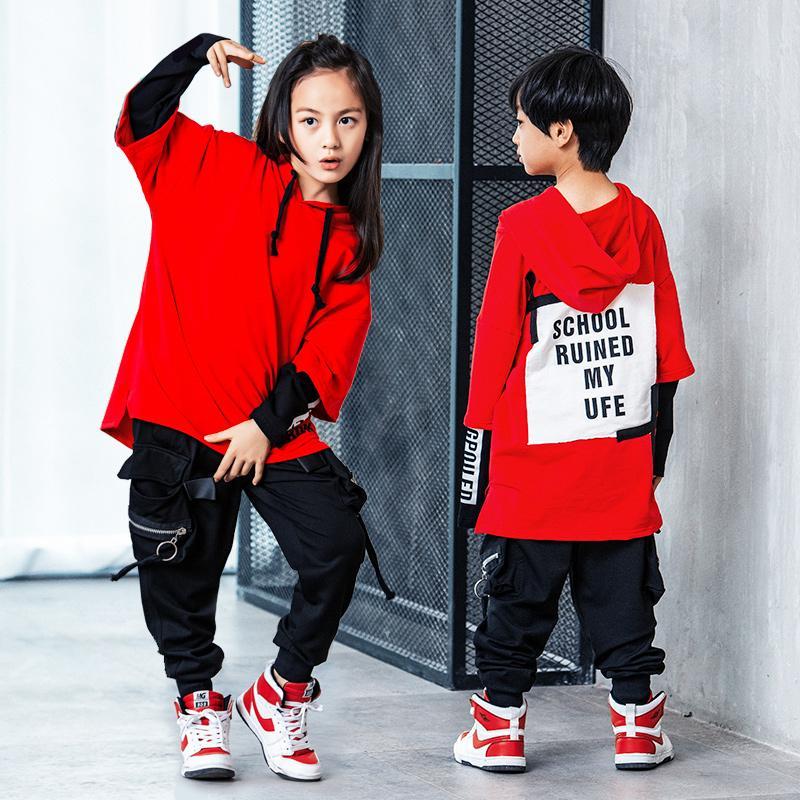 99db1e765f Compre Hot Estilo Coreano Hip Hop Dança Roupas Jazz Hiphop Pop Terno De  Dança De Rua Trajes De Desgaste Para Crianças Meninos Meninas Mulheres  Homens ...