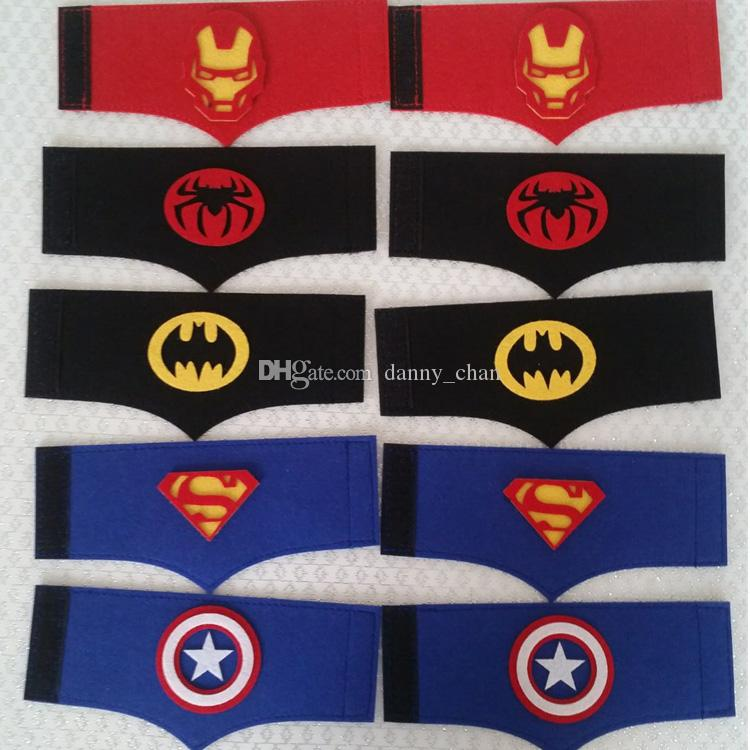 20 styles Halloween felt wristbands Superhero Series Wristband Spiderman Captain American for Kids Cosplay Use Birthday Party toy DHL