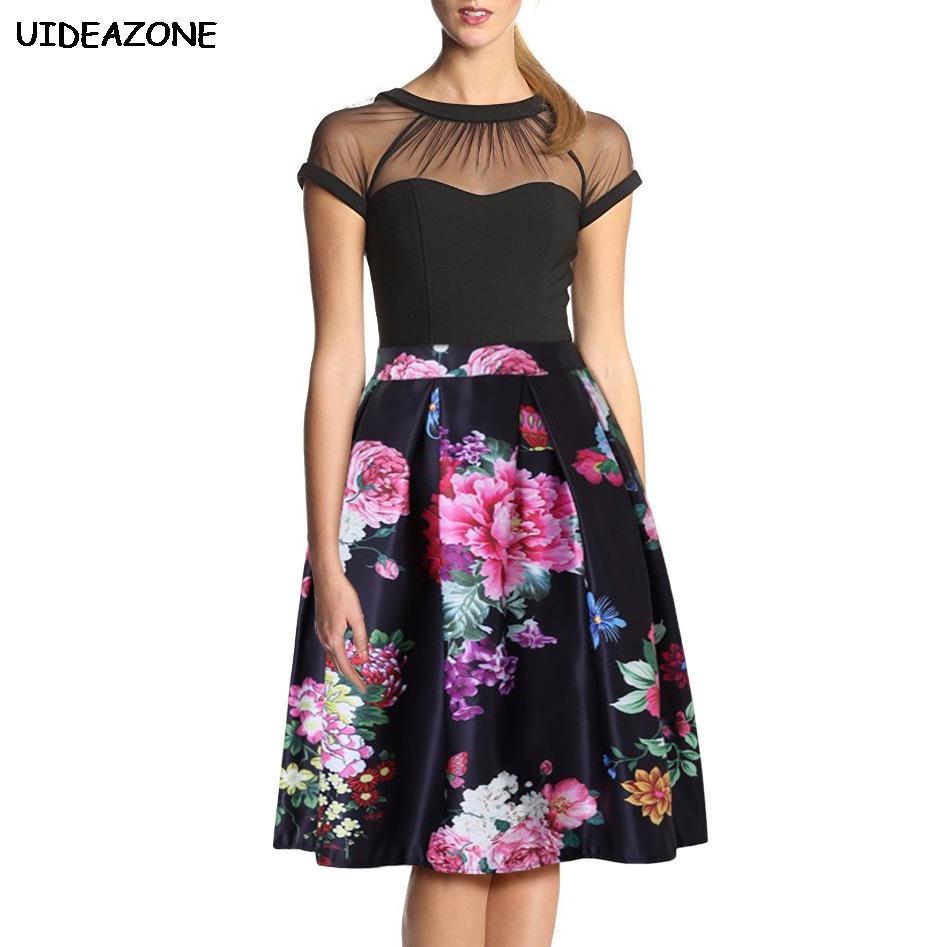 48984bdf4d8 Faldas Mujer Moda 2018 Faldas estampadas con estampado floral Streetwear  hasta la rodilla toga falda casual Falda de cintura alta Women Femme