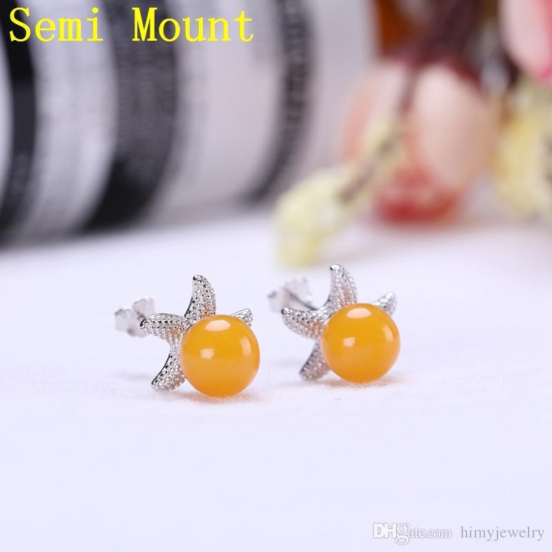 Fine Silver 925 Sterling Silver Stud Earrings 6mm7mm8mm9mm Pearl or Round Bead Semi Mount Women Trendy Fine Jewelry Setting DIY Stone
