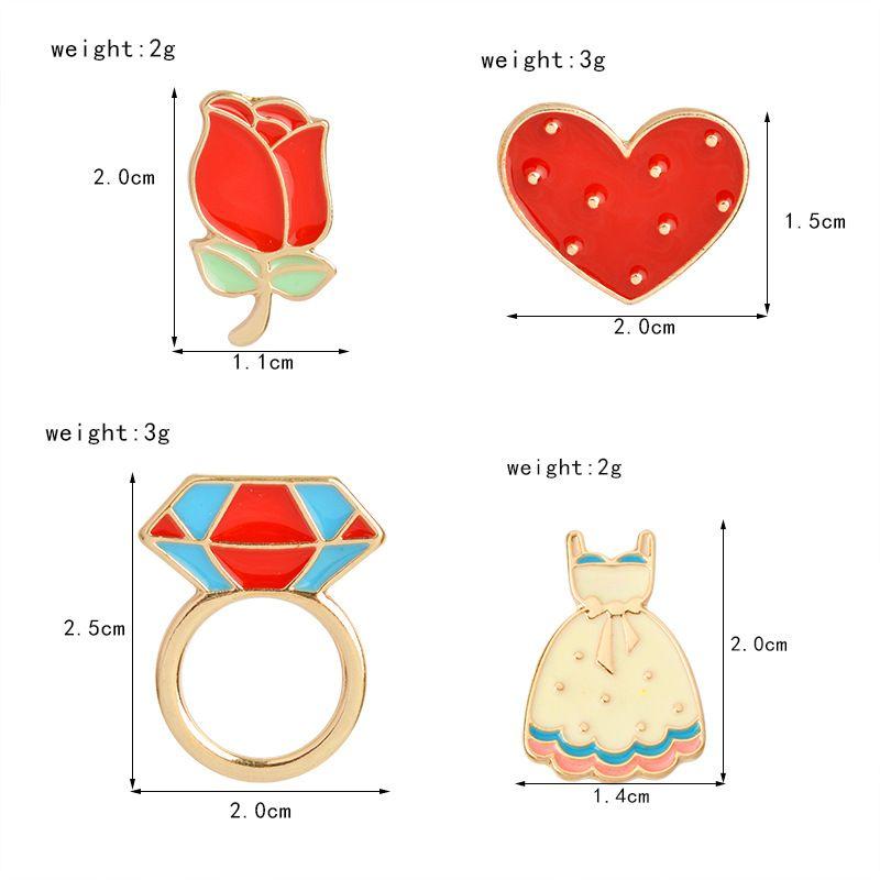 Flor roja Rosa Corazón Vestido Largo Anillo de Diamante Insignia Broche Broches Esmalte Traje Camisa de Solapa Pin para Mujeres Niños Regalo Envío de la gota