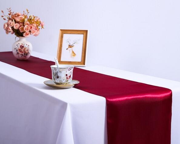 Table Runner Satin Table Runners for Party Wedding 12X108 inch Satin Ribbon Cloth Table Runner Flag of Wedding Banquet Decoration DHL