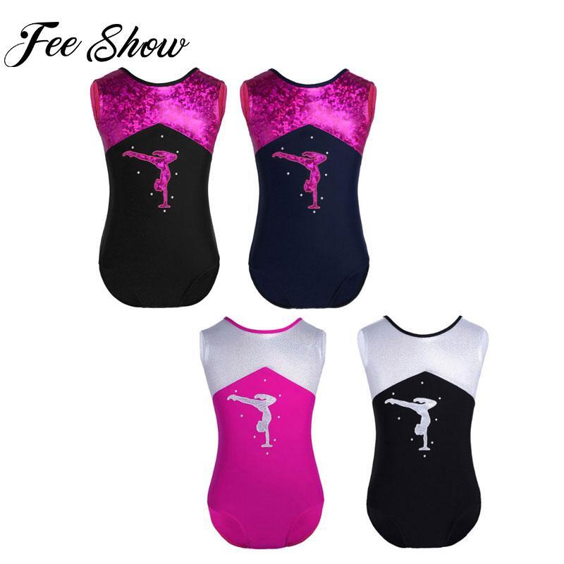 6449948d5fba 2019 Teen Girls Shiny Sleeveless Ballet Tutu Gymnastics Leotard ...