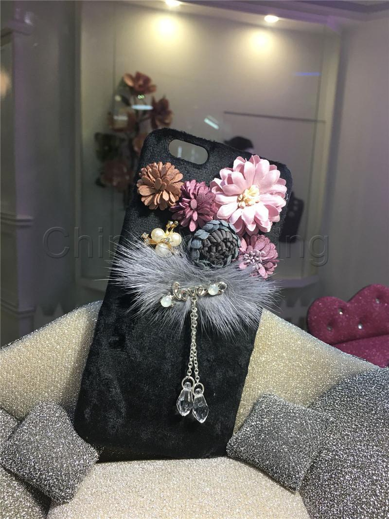 Hand-made Beatiful Stereo Flower Case Tassel Pendant Drop Protection Cover Back Phone Cases For iPhone X 8 7 6 6S plus