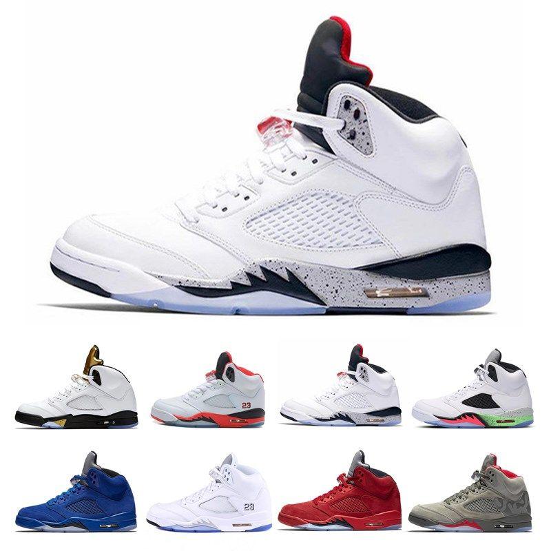 online store 89076 684cc Mens 5 BCFC PSG Paris Saint-Germain Basketball Shoes Black Challenge Red  White 5s International Flight Metallic Sliver Sport Sneakers 7-13