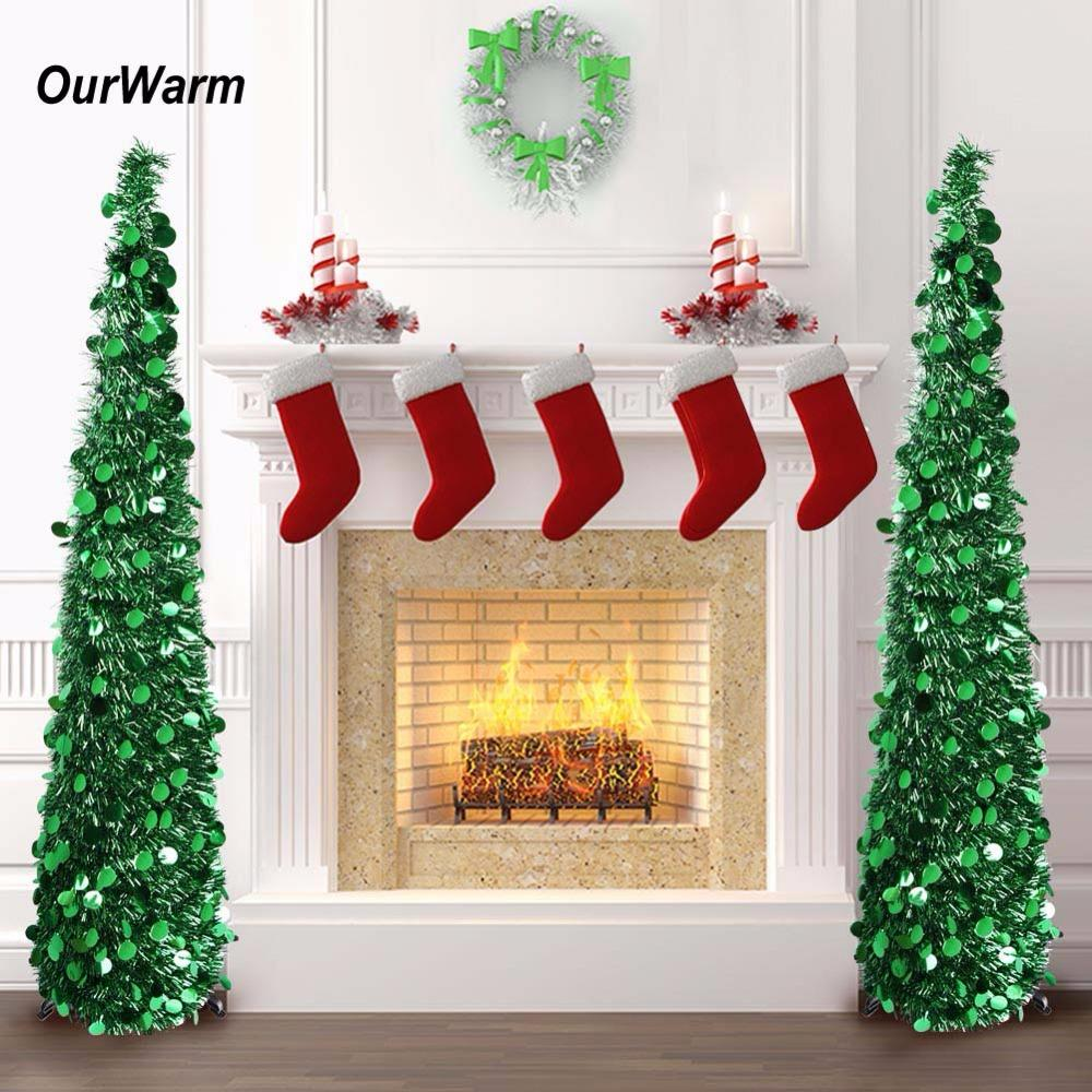 ourwarm 5ft pop up artificial christmas tree decorations tinsel collapsible fake new years tree easy to put up and store christmas decor shopping christmas