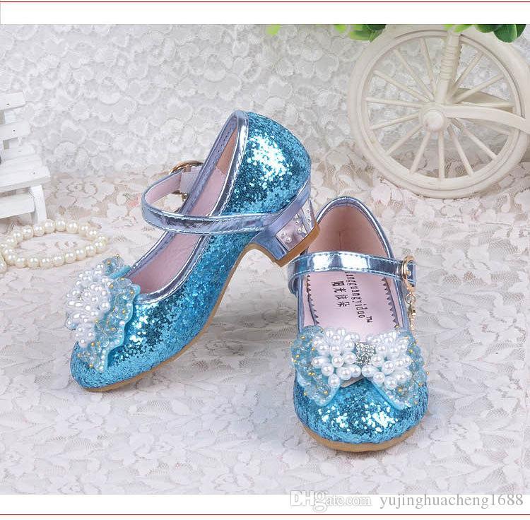 Children Princess Sandals Kids Girls Wedding Shoes High Heels Dress Shoes Bowtie Gold Shoes For Girls White Pink