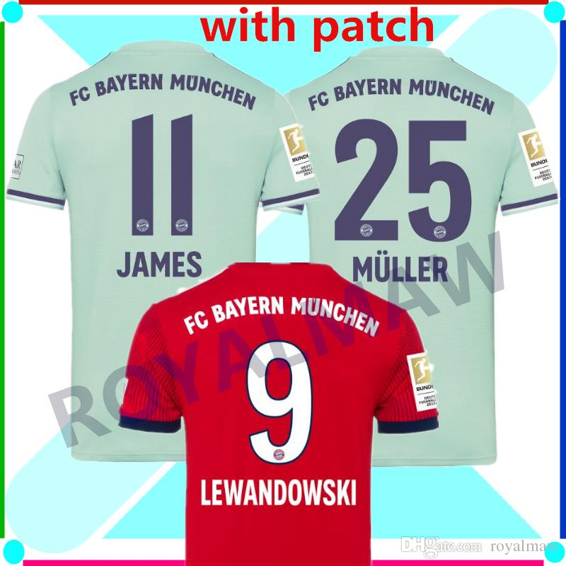 27458348c03 2019 FC Bayern Jersey 18 19 Home Red Away Green Soccer Shirt 2019 Football  Shirt LEWANDOWSKI JAMES MÜLLER Munich 18 19 T Shirt Bundesliga Patch From  ...