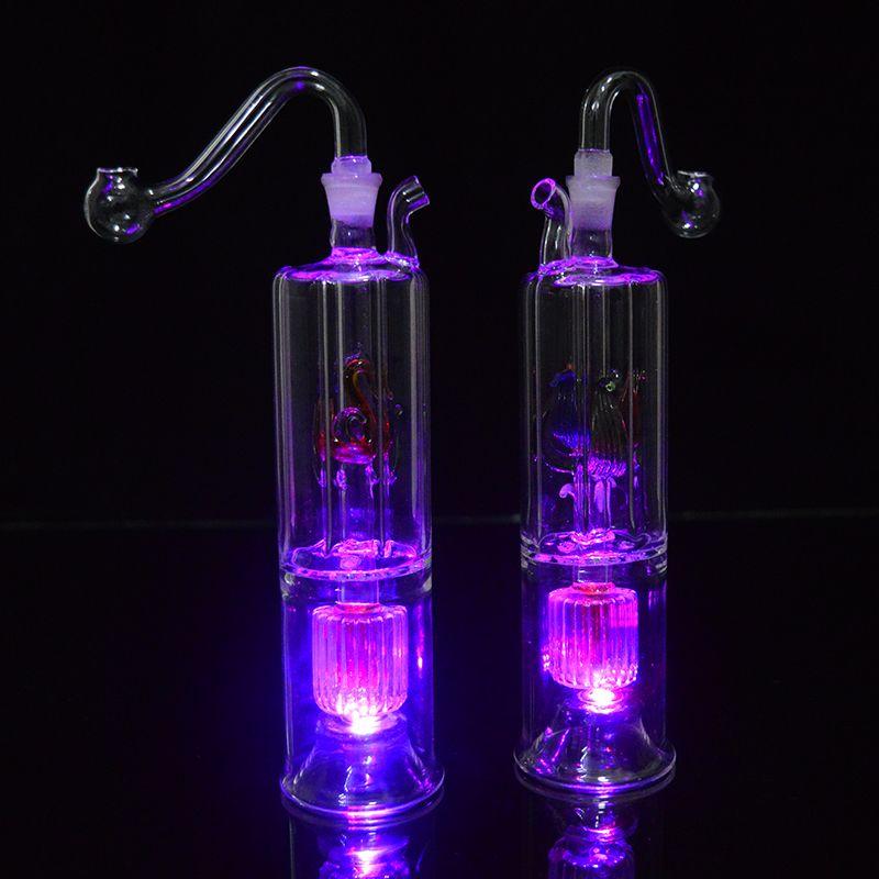 Küçük Bong Dab Rig LED Işık Bubbler Cam Yağı Rig 6