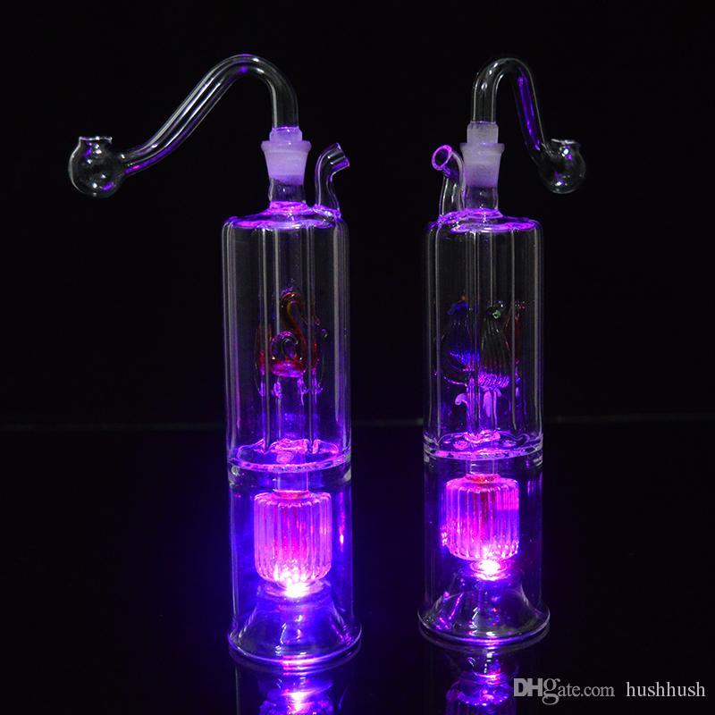Kleine Bong Dab Rig LED Leuchte Bubbler Glass Oil Rig 6