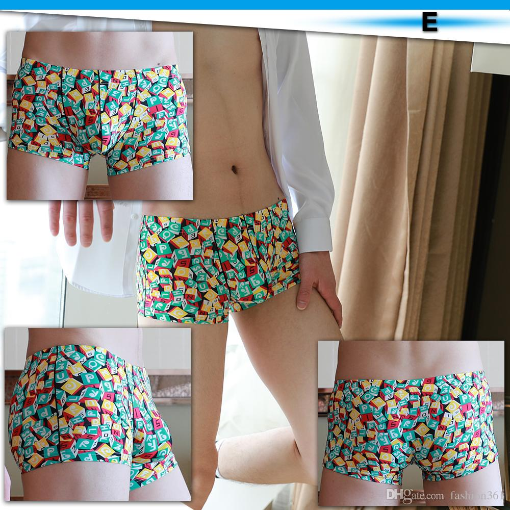 Men Fashion Boxers Ice Silk Print Breathable Underwear Comfortable Sexy Men Shorts Transparent Boxer M-XXL Underwear New Shorts