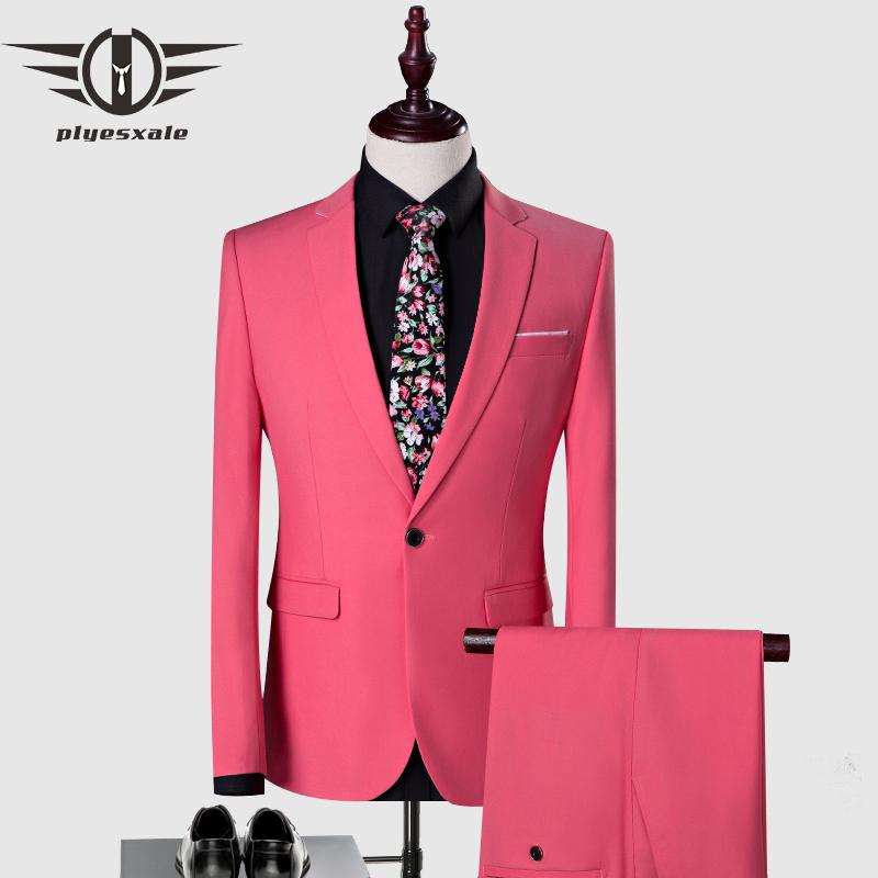 Plyesxale Pink Suit Men 2018 Classic Mens Suits With Pants Slim Fit Wedding Suits For Men Elegant Latest Coat Pant Designs Q2