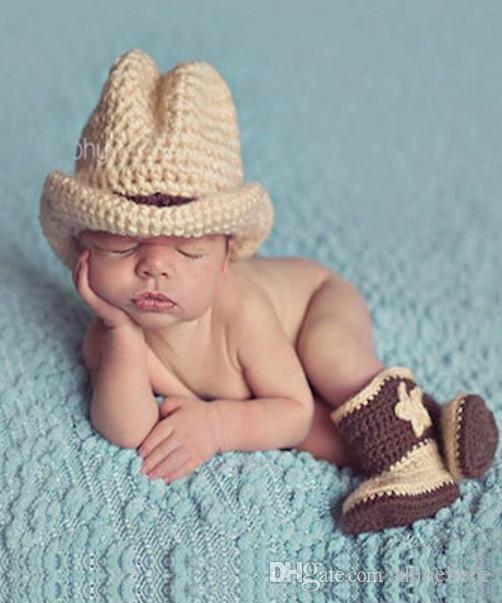 0c182c56276 Fashion Newborn Cute Baby Photo Props Handmade Knitted Cowboy Hat And Boots  Shoes Set Cartoon Infant Phography Shoot Accessory PZ041 UK 2019 From  Shinebebe