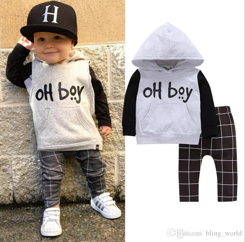 5811ab29b 2019 Baby Boys Clothes Set Oh Boy Print Hoodie Pants Set Toddler ...