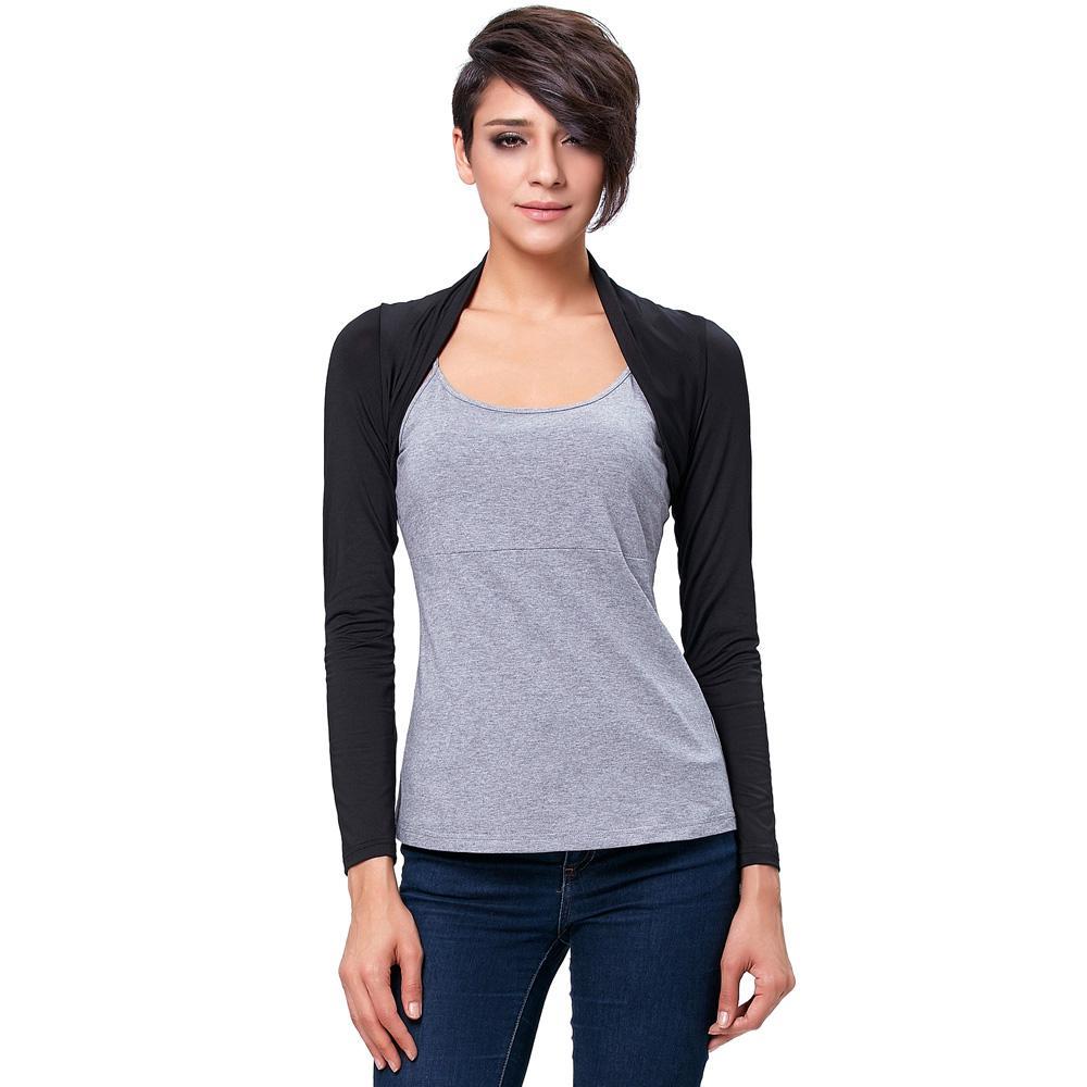Belle Poque 2017 Femmes Dames Veste À Manches Longues Confortable Modal Shrug Point Ouvert Solide Bolero Mince Haute Extensible Doux Manteaux