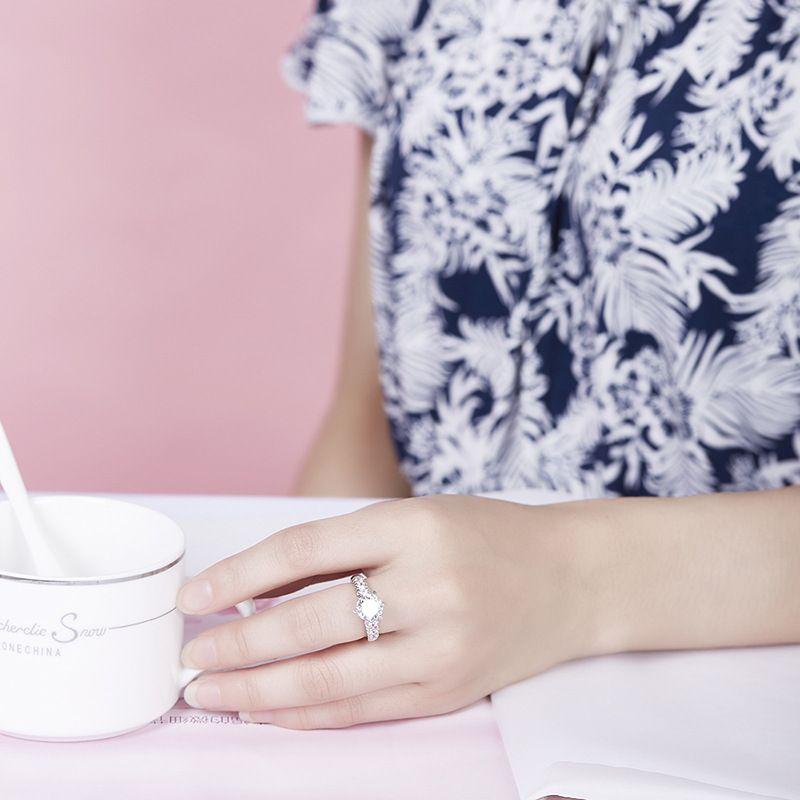 YHAMNI Изящных Ювелирных Изделий Подлинная 925 Твердого Серебра Кольцо Натуральный Белый Кубический Цирконий Бриллиантовое Кольцо CZ Engagemen Кольца для Женщин Девушки LR68