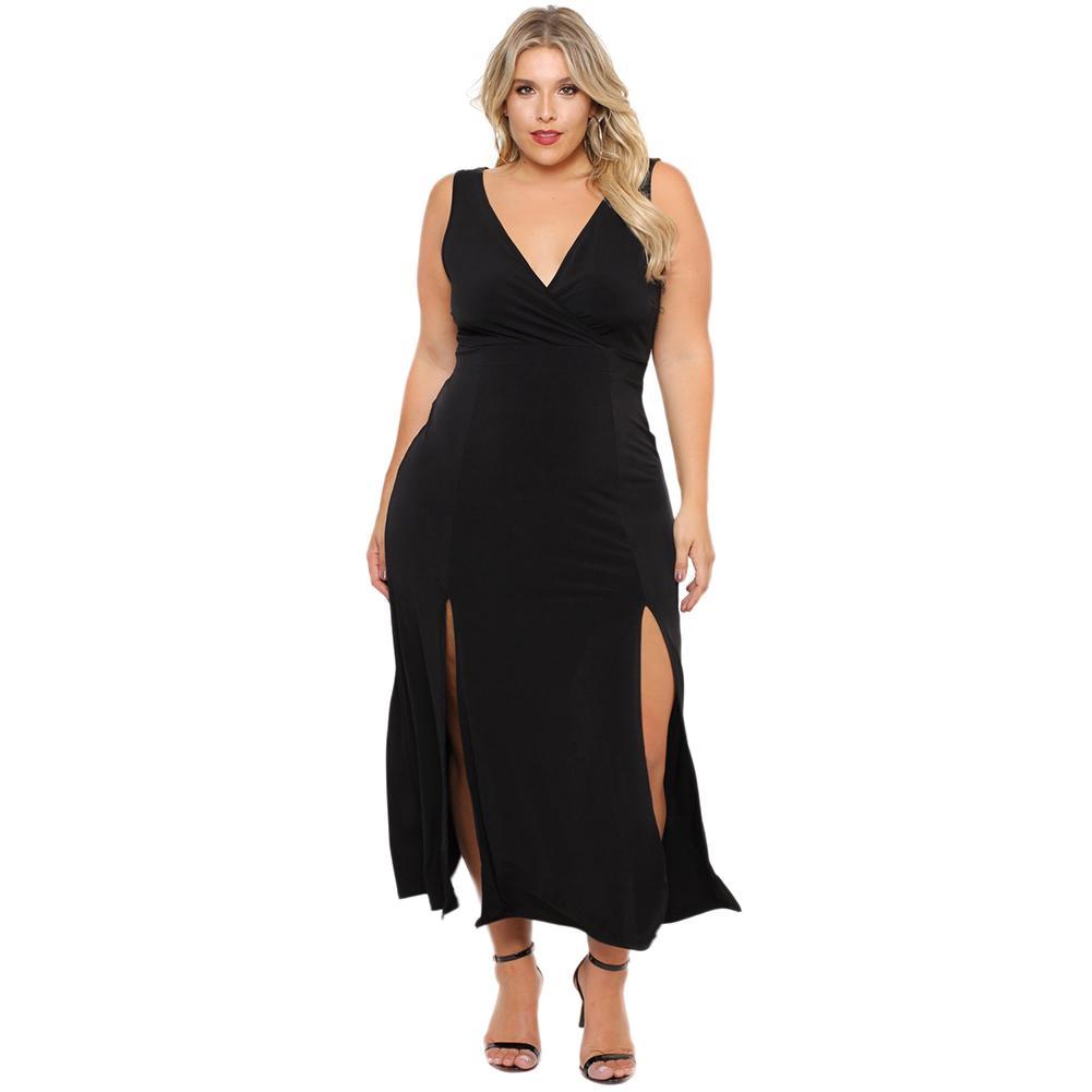 eb78ce144d3 2018 New Sexy Women Plus Size Dress Front Splits Deep V Neck Sleeveless  Sundress Large Size Party Clubwear Maxi Dress Black Ropa Black Clothing For  Women ...