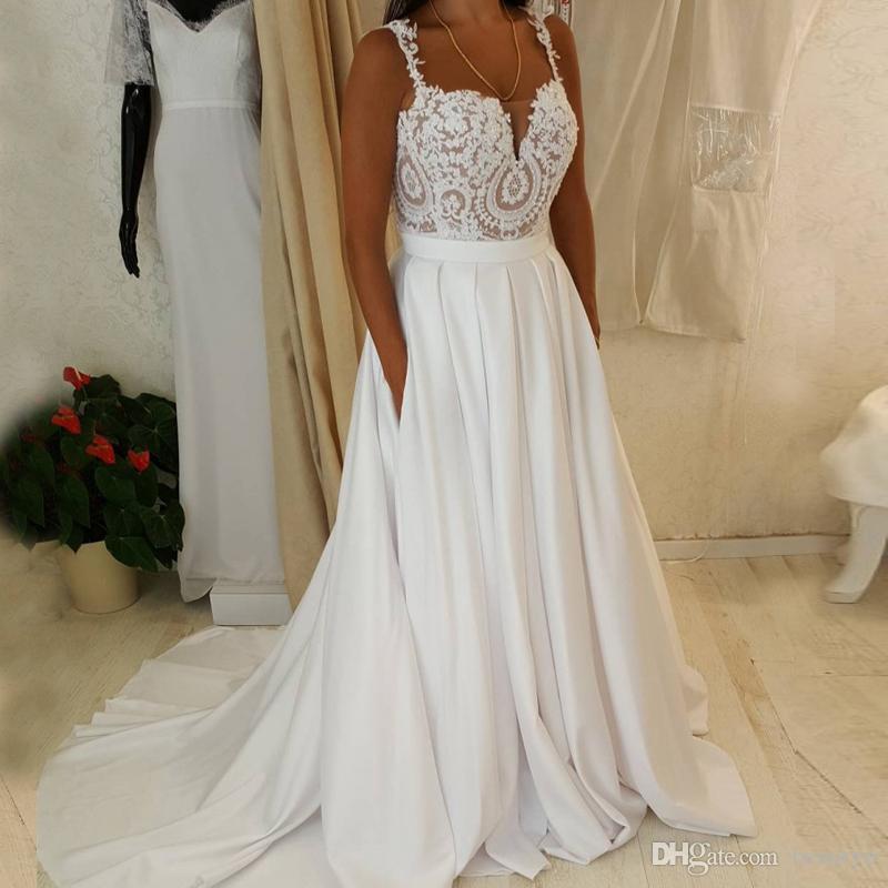 4ce0665f31d Discount Bohemian Beach 2018 Wedding Dresses A Line Spaghetti Straps  Vintage Lace Satin Cheap Boho Bridal Gowns Plus Size Country Wedding Dress  Bridal Shop ...