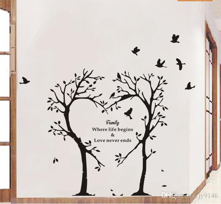 Large Family Theme Quotes Wall Sticker Vinyl Self Adhesive Love Tree Classy Quotes Wall Art