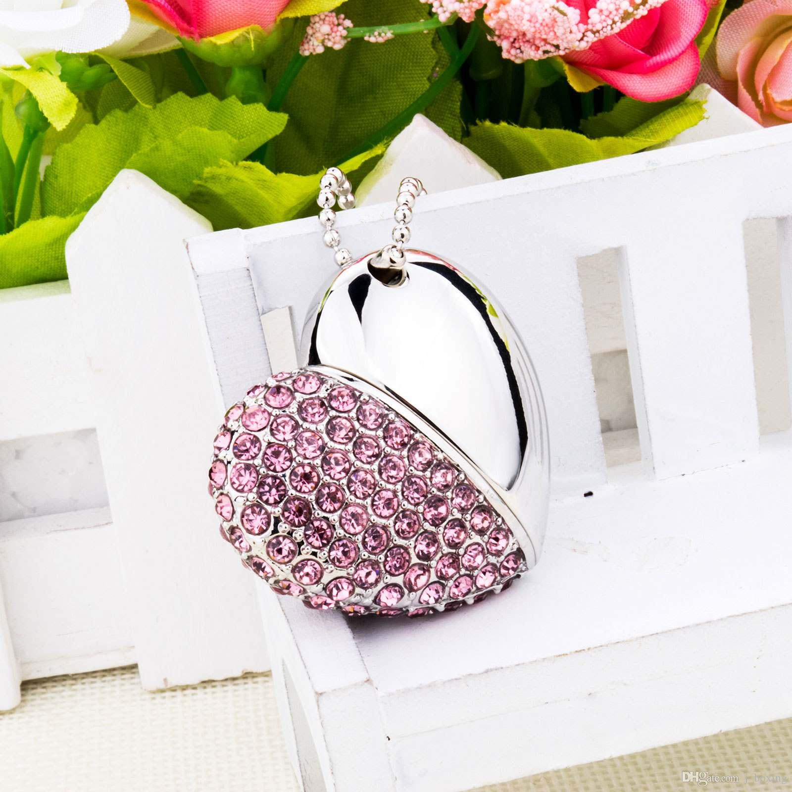 Pink Crystal Heart Shape 8G 16G 32G 64G USB 2.0 Flash Drives Enough Memory Sticks Thumb Pen Drive for Computer Laptop Macbook Tablet