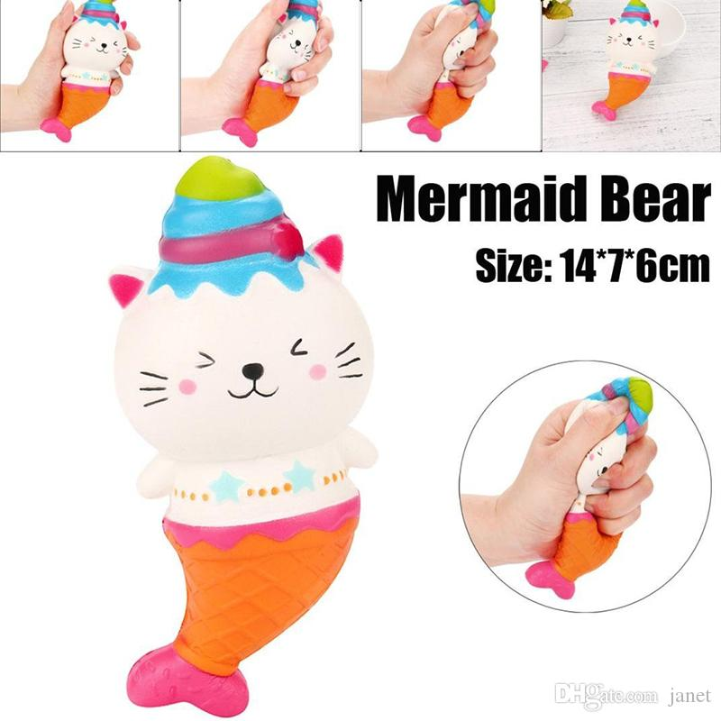 15cm Cute Jumbo Cat Kitty Mermaid Ice Cream Squishy Slow Rising Soft Squeeze Strap Scented Cake Bread Kid Toy